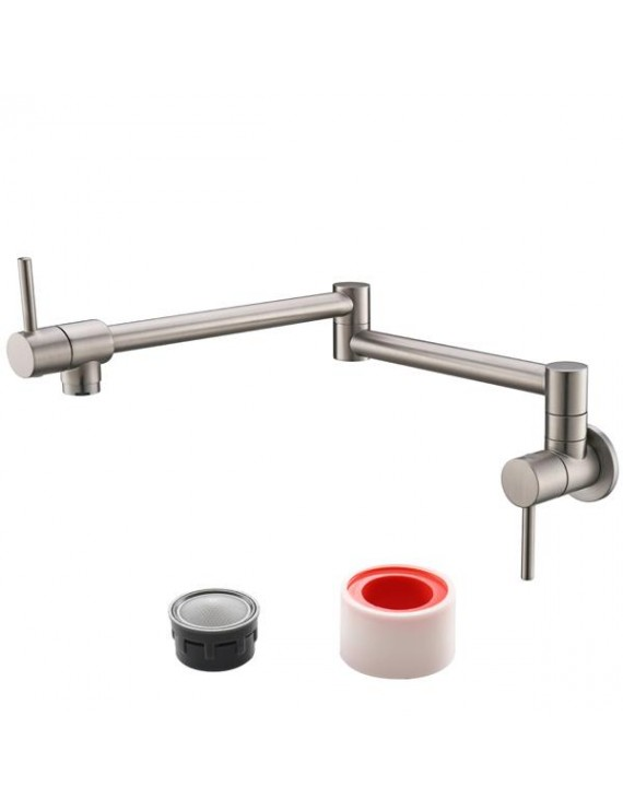 Brass Folding Faucet 1/2'' NPT Wall Mount Kitchen Faucet Two Handles Cold Water Tap Nickel