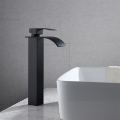 Single Hole Single Handle Hot And Cold Single Control Bathroom Basin Waterfall Faucet-Black Curved Mouth (High)
