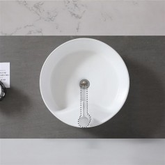 Ceramic Basin Above Counter Basin-Round With Tap Mounting Hole White