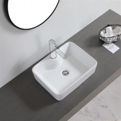 Ceramic Basin Above Counter Basin Oblique Side Rectangular With Tap Mounting Hole White
