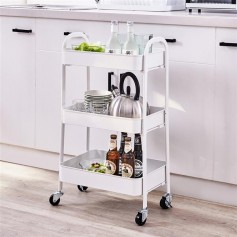 3 Tier Rolling Cart (White)