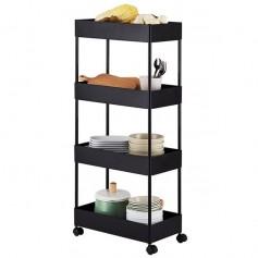 4 Tier Slim Storage Cart Kitchen Bathroom Mobile Shelving with Moving Wheels Black