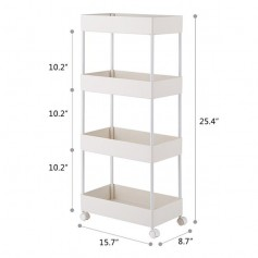 4 Tier Slim Storage Cart Kitchen Bathroom Mobile Shelving with Moving Wheels White
