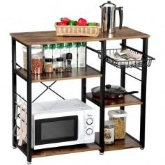 3-Tier Industrial Kitchen Baker's Rack Utility Microwave Oven Stand Storage Cart Workstation Shelf, Vintage