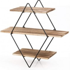 Floating Shelves, 3 Tier Geometric Diamond Wall Shelves, Wood and Metal Art, Rustic Farmhouse Decor