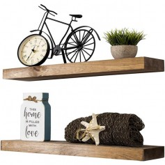 Set of 2 Floating Display Shelves Ledge Bookshelf Wall Mount Storage Home Décor Walnut