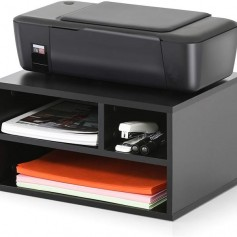 Wood Printer Stands with Storage, Workspace Desk Organizers for Home & Office, Black