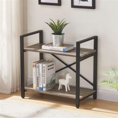 Bookshelf 2 Tier Bookcase, Modern Narrow Book Shelf and Book Case, Industrial Wood Shelving Unit for Living Room