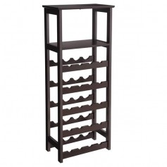 Wooden Wine Rack Free Standing Wine Holder Display Shelves with Glass Holder Rack, 20 Bottles Stackable Capacity for Home Kitchen, Brown Color