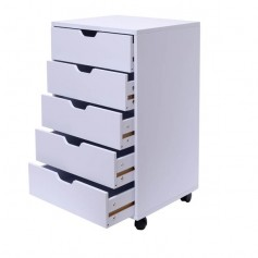 5-Drawer Wood Filing Cabinet, Mobile Storage Cabinet for Closet / Office White Color