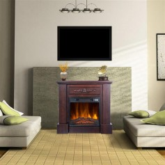 """ZOKOP SF103-18g   HA203-32 32 """"Wood Brown Fireplace Cabinet 1400W Single Color / Fake Firewood / Heating Wire / With Small Remote Control Movement Black"""