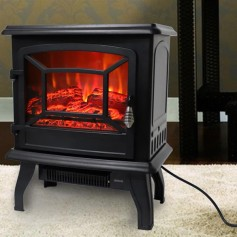 ZOKOP SF57B-17A00 17 inch 1400w Freestanding Fireplace Fake Wood/Single Color/Heating Wire/A Rocker Flame Switch Button/a Rocker Heating Switch Button/a Temperature Control Knob with NTC/Black