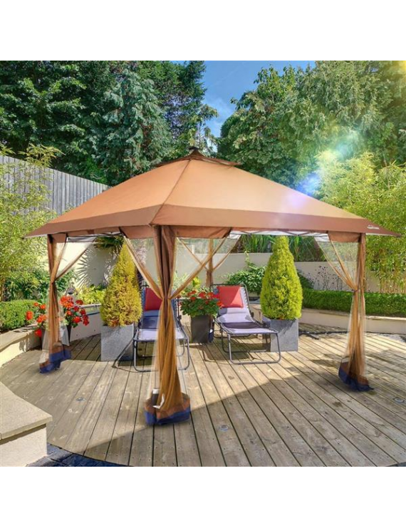 Outdoor Pop Up Gazebo Canopy with Mosquito Netting and Solar LED Light for Parties and Outdoor Activities
