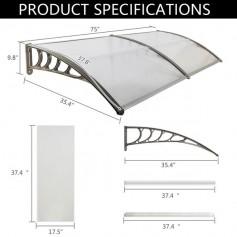 HT-190 x 100 Household Application Door & Window Rain Cover Eaves Canopy Silver & Gray Bracket