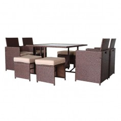 9 Pieces Wood Grain PE Wicker Rattan Dining Ottoman with Tempered Glass Table Patio Furniture Set