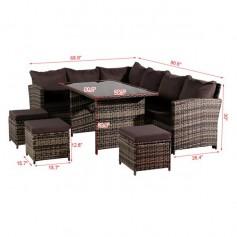 Oshion 9 Seat Rattan Furniture Outdoor Sofa Dining Table With Free Rain Cover Black Silk Screen Glass Dark Grey Sofa Cover (UK Flame Retardant Material) Grey Rattan Total 2 Boxes