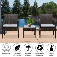 3 Piece Patio Furniture Set Wicker Rattan Outdoor Patio Conversation Set