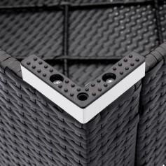 Fully Equipped Weaving Rattan Sofa Set with 2pcs Corner Sofas & 1pcs Single Sofas & 1 pcs Coffee Table Black