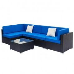 Fully Equipped Weaving Rattan Sofa Set with 2pcs Corner Sofas & 3pcs Single Sofas & 1 pcs Coffee Table Black
