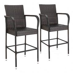 2pcs High Bar Chair Brown Gradient