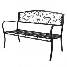 """51"""" Patio Park Garden Outdoor Bench Patio Porch Chair Deck Iron Frame Black"""