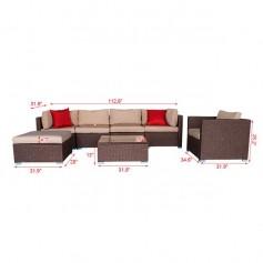 7 Pieces Wood Grain Patio PE Wicker Rattan Corner Sofa Set