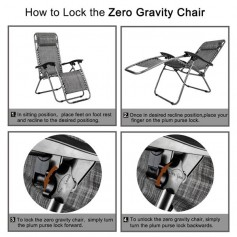 2PCS Zero Gravity Lounge Chair Grey with Portable Cup Holder Table