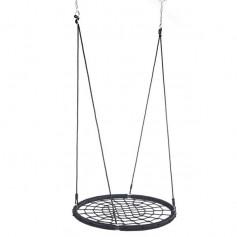 "40"" Spider Web Swing Nylon Rope Swivel Tree Net Assembled Black"