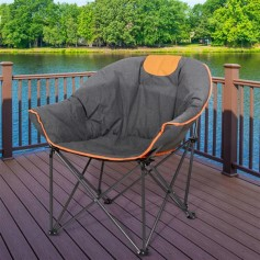 Sofa Chair, Oversize Padded Moon Leisure Portable Stable Comfortable Folding Chair for Camping, Hiking, Carry Bag