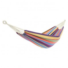 Polyester Cotton Hammock Small Color Stripe Natural Rope 200*150Cm With Two 2M Tie Ropes   Back Bag