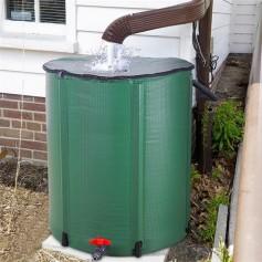 50 Gallon Folding Rain Barrel Water Collector Green