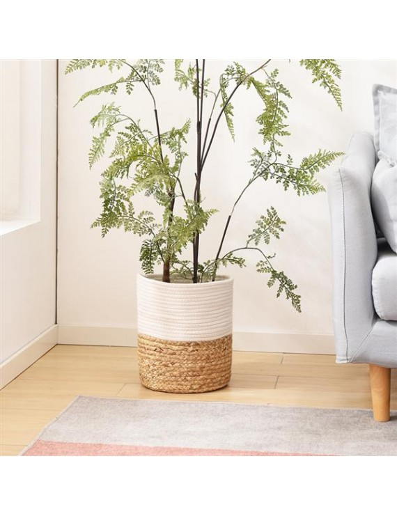 """Cotton Rope Plant Basket with Water Hyacinth Modern Indoor Planter Up to 10 Inch Pot Woven Storage Organizer with Handles Home Decor, 11"""" x 11"""""""
