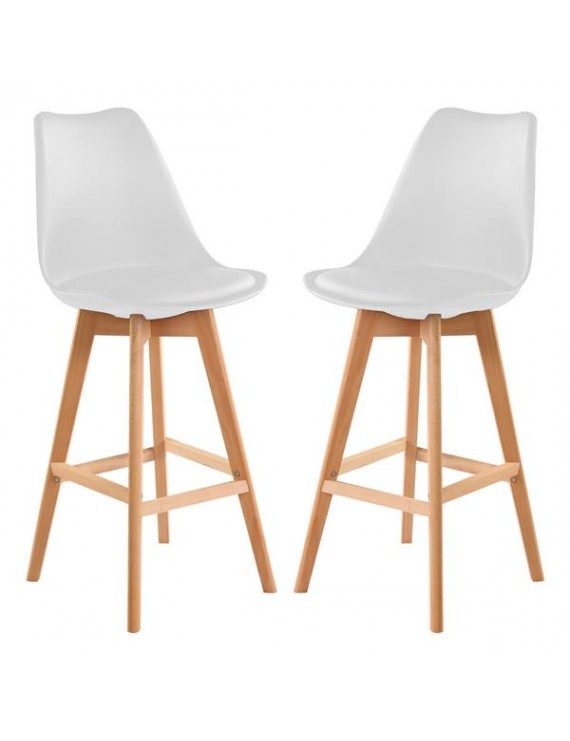 Bar Stools Set of 2 PU Leather Bar Stools with Backs Kitchen Counter Bar Chairs Wood Leg for Kitchen Stool Pub Chairs, Counter, Ergonomics Design(White)