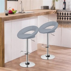 Bar Stools Set of 2 Faux Leatherr Bar Stools White Dinning Chairs,Bar Chairs With 360 Degree Swivel Adjustable Height(Grey)