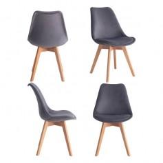2 x Esszimmerstühle Esszimmerstuhl Retro Stühle Set 2 Stühle Tulpe Esszimmer Stuhl-Küche Retro Design Stühle mit Füße aus Holz Küchenstuhl, Bürostuhl, Lounge Stuhl Robust und Bequem (Dunkelgrau)