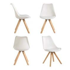 4er Set Stuhl Esszimmerstühle Esszimmerstuhl 4 x Esszimmerstühle Stuhl Küchenstühle Massivholz Buche Bein, Retro Design Gepolsterter lStuhl Küchenstuhl Holz